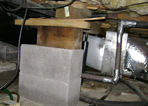 a poorly designed crawl space support system installed in a Sanford home