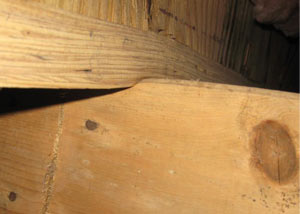 A failing girder showing signs of compression damage in a Caribou home