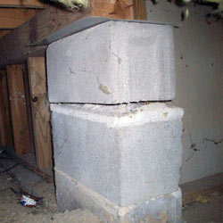 Collapsing crawl space support pillars Kennebunk