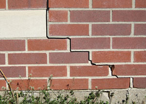 a foundation wall crack on a Kennebunk home.