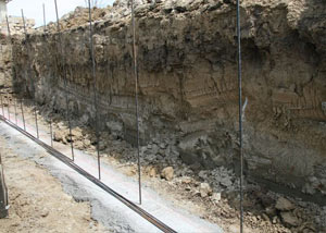 Soil layers exposed while excavating to construct a new foundation in Brunswick