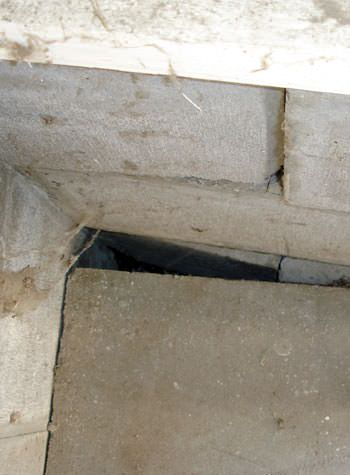 inward rotation of a foundation wall damaged by street creep in a garage in Houlton