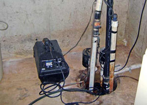 Pedestal sump pump system installed in a home in Sanford