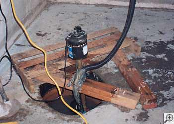 A Sanford sump pump system that failed and lead to a basement flood.