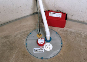 A sump pump system with a battery backup system installed in Ellsworth