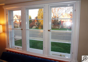 A basement window insulation panel installed in a home in Brunswick.