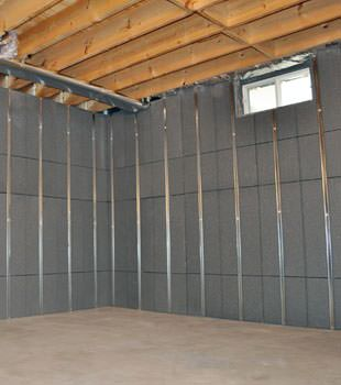 Installed basement wall panels installed in Auburn