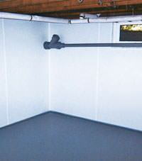 Plastic basement wall panels installed in a Biddeford, Maine home