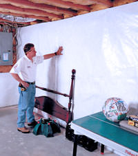 Plastic 20-mil vapor barrier for dirt basements, Biddeford, Maine installation