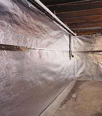 Radiant heat barrier and vapor barrier for finished basement walls in Biddeford, Maine